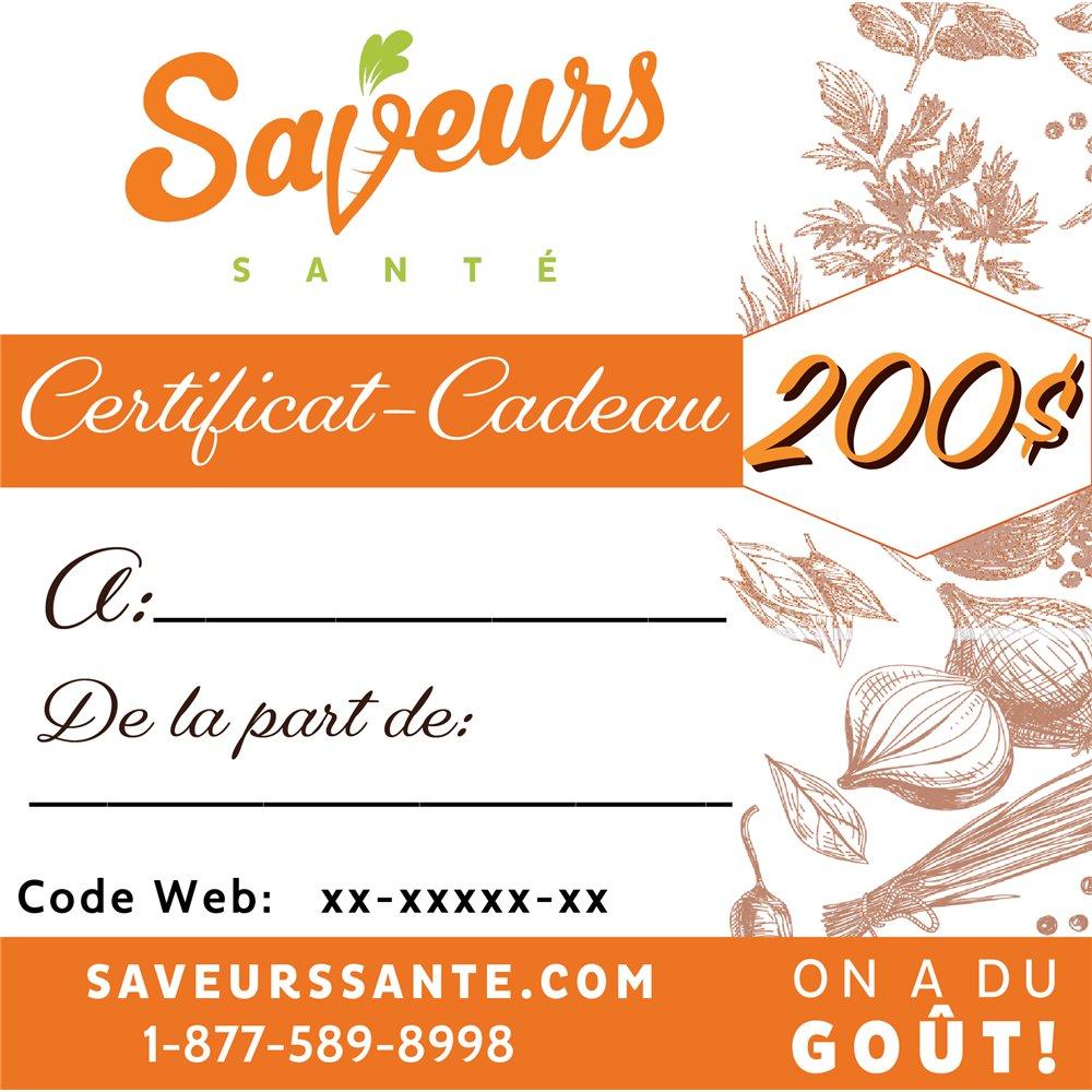 Certificat-Cadeau 200$ Saveurs Santé