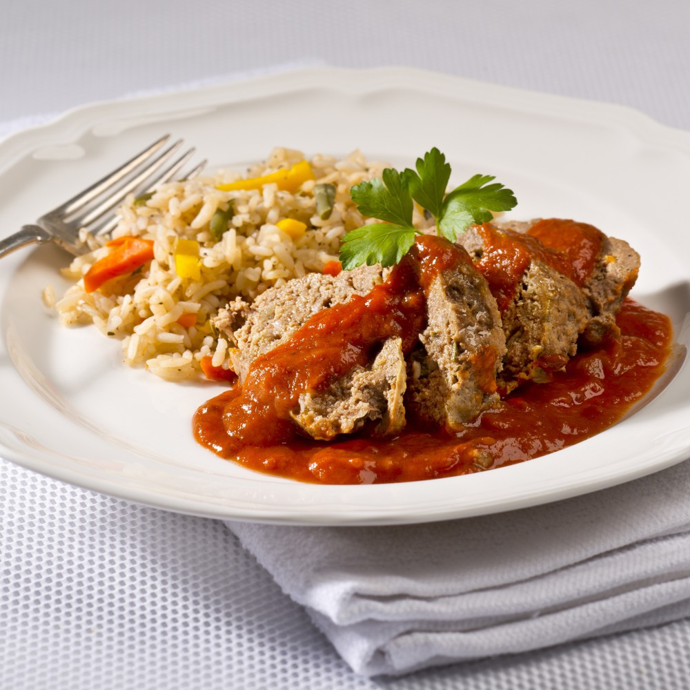Meat loaf with vegetable rice Saveurs Santé  Family Portions