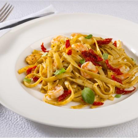 Shrimps & dry tomatoes pesto fettuccine Saveurs Santé  Individual Portions