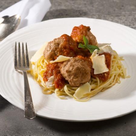 Spaghetti Marinara with meatballs Saveurs Santé  Individual Portions