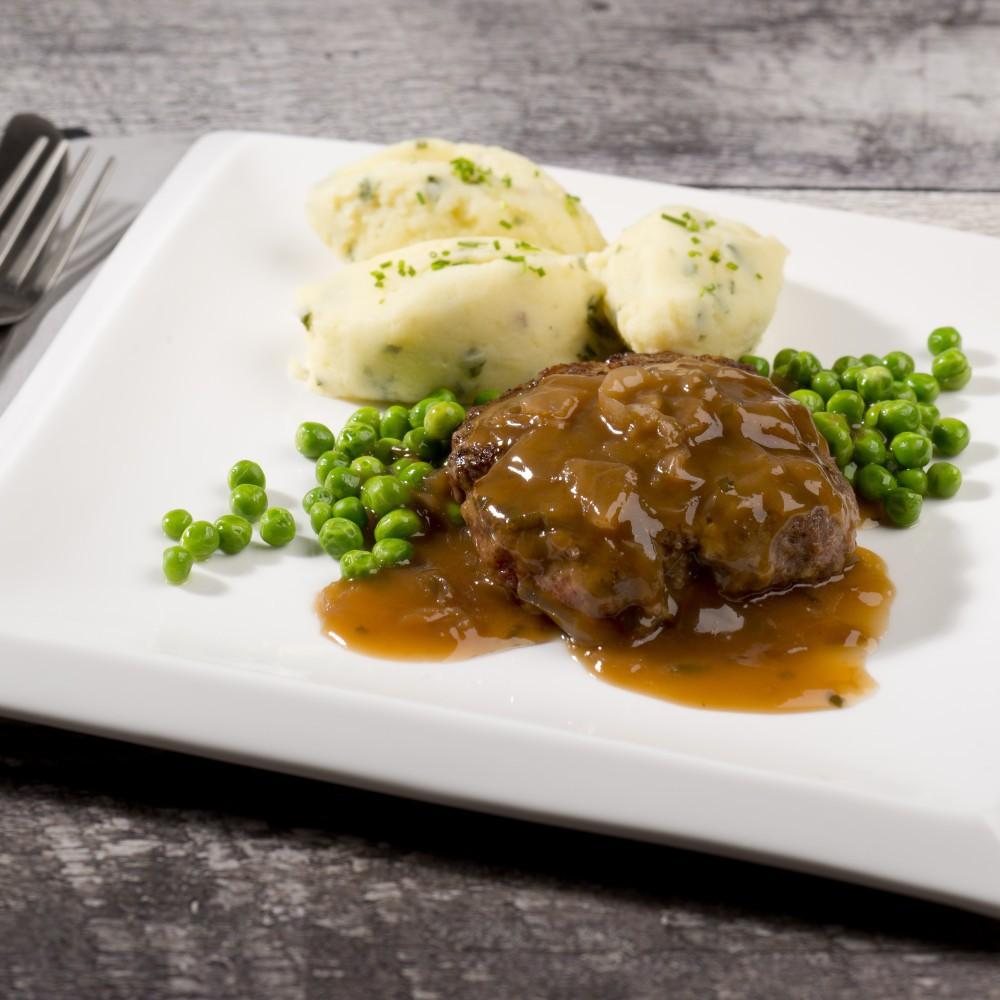 Hamburger steak with onion sauce Saveurs Santé  Family Portions