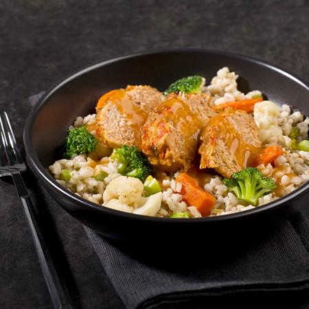 Poultry meatloaf with Bar-B-Q sauce Saveurs Santé  Individual Portions