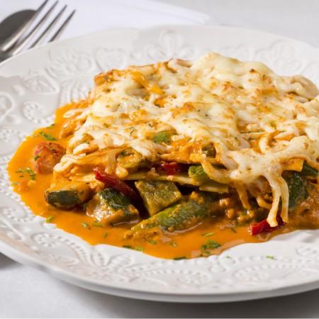 Salsa rosa lasagna with grilled vegetables Saveurs Santé  Family Portions