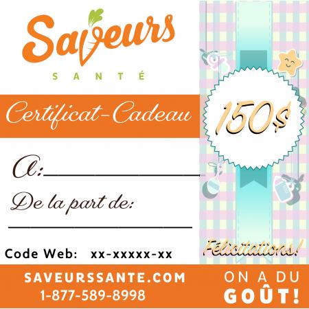 Certificat-Cadeau Maternité 150$ Saveurs Santé